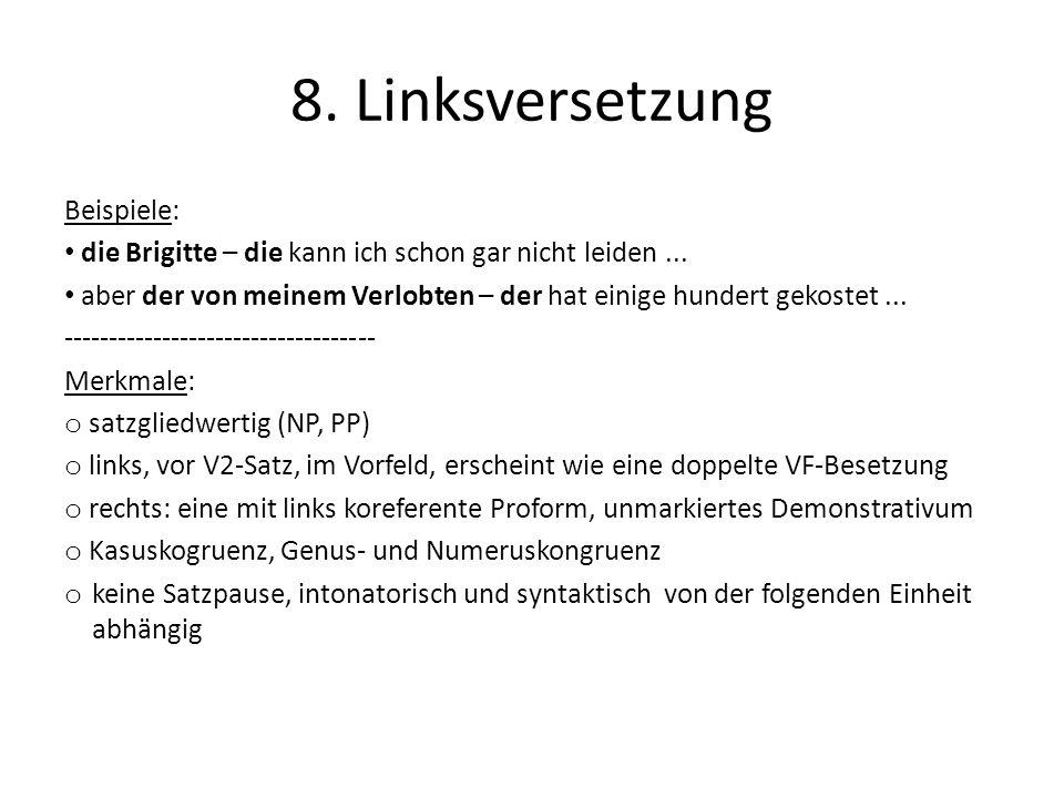8. Linksversetzung Beispiele: