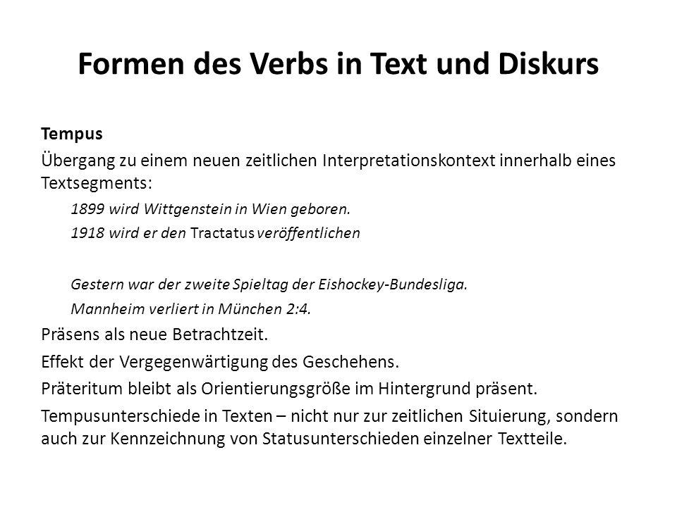 Formen des Verbs in Text und Diskurs