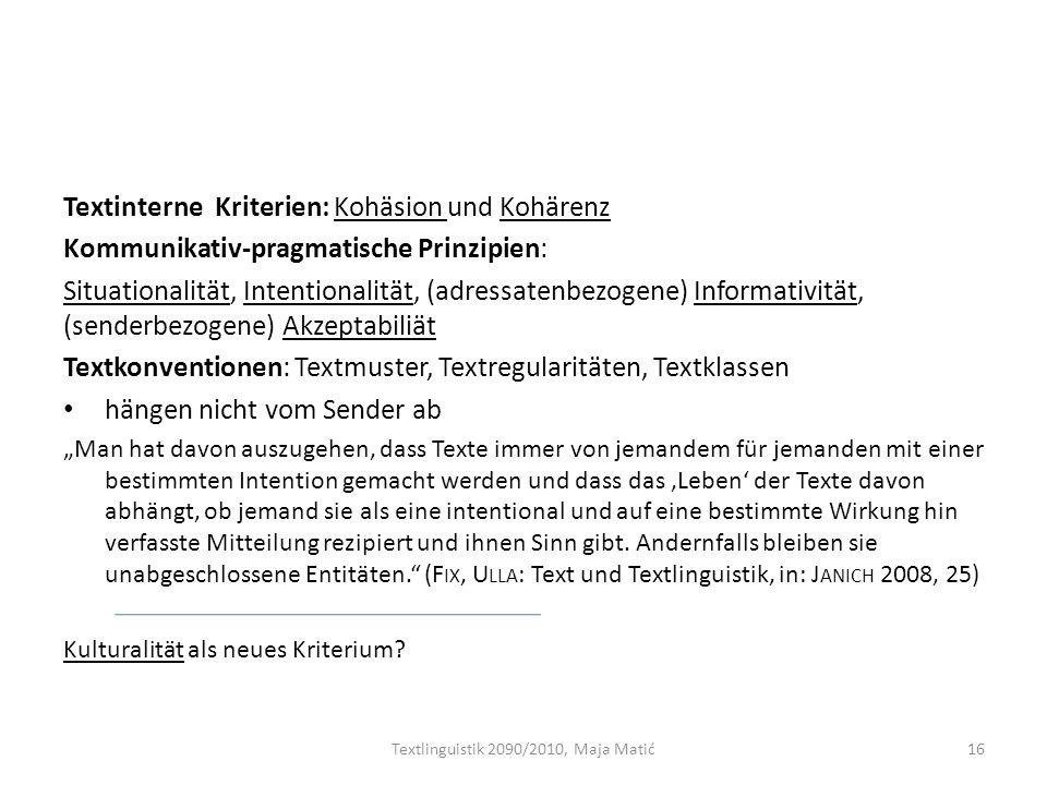 Textlinguistik 2090/2010, Maja Matić