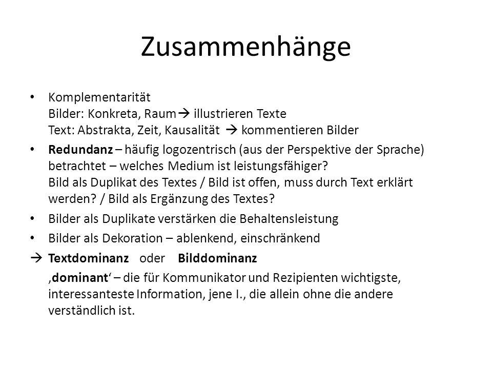 Zusammenhänge Komplementarität Bilder: Konkreta, Raum  illustrieren Texte Text: Abstrakta, Zeit, Kausalität  kommentieren Bilder.