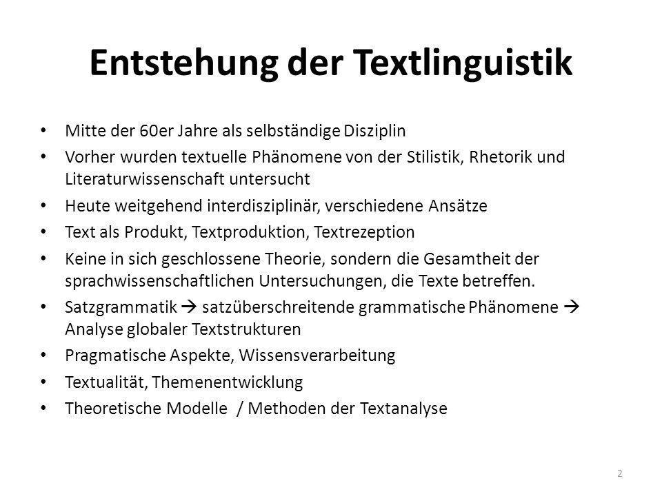 Entstehung der Textlinguistik