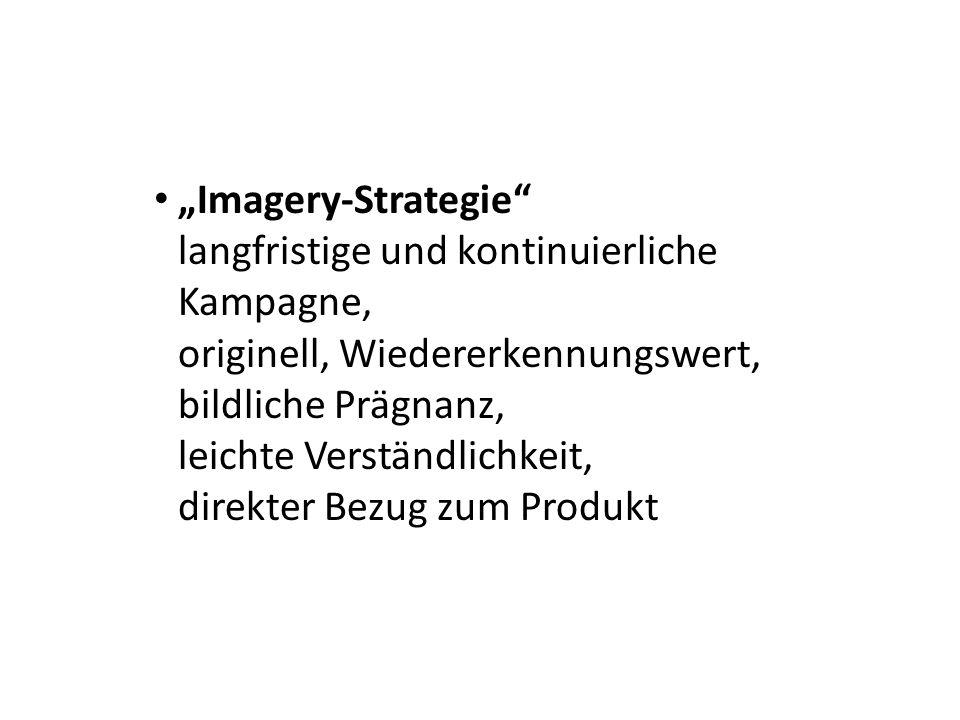 """""""Imagery-Strategie langfristige und kontinuierliche Kampagne, originell, Wiedererkennungswert, bildliche Prägnanz, leichte Verständlichkeit, direkter Bezug zum Produkt"""