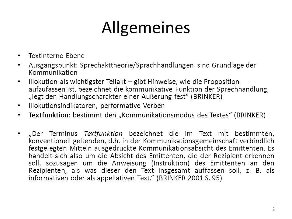 Allgemeines Textinterne Ebene
