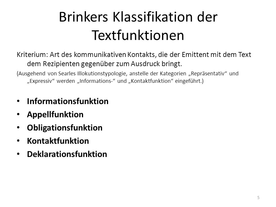 Brinkers Klassifikation der Textfunktionen