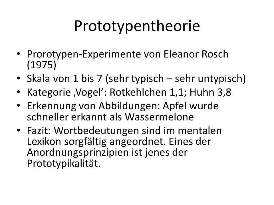 Prototypentheorie Prorotypen-Experimente von Eleanor Rosch (1975)