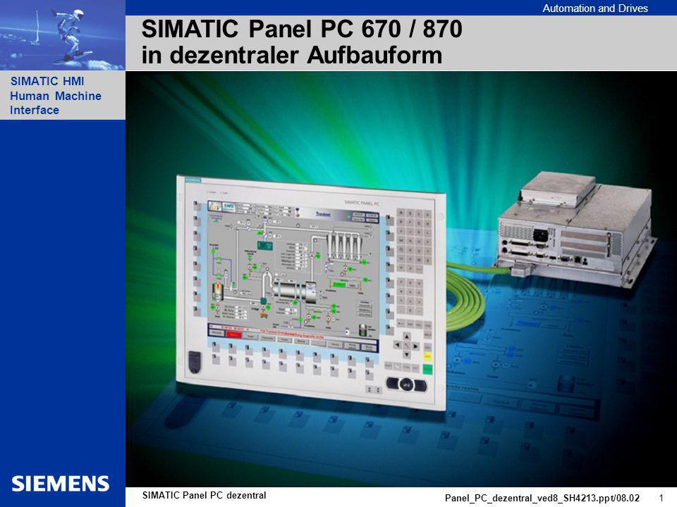 SIMATIC Panel PC 670 / 870 in dezentraler Aufbauform