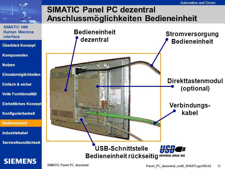 SIMATIC Panel PC dezentral Anschlussmöglichkeiten Bedieneinheit