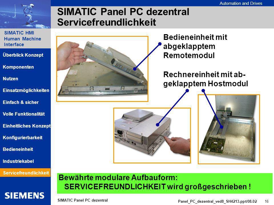 SIMATIC Panel PC dezentral Servicefreundlichkeit