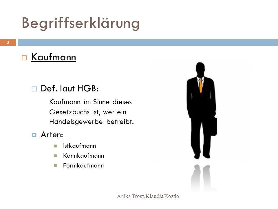 Begriffserklärung Kaufmann Def. laut HGB: Arten:
