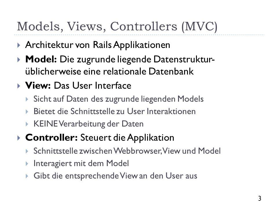 Models, Views, Controllers (MVC)
