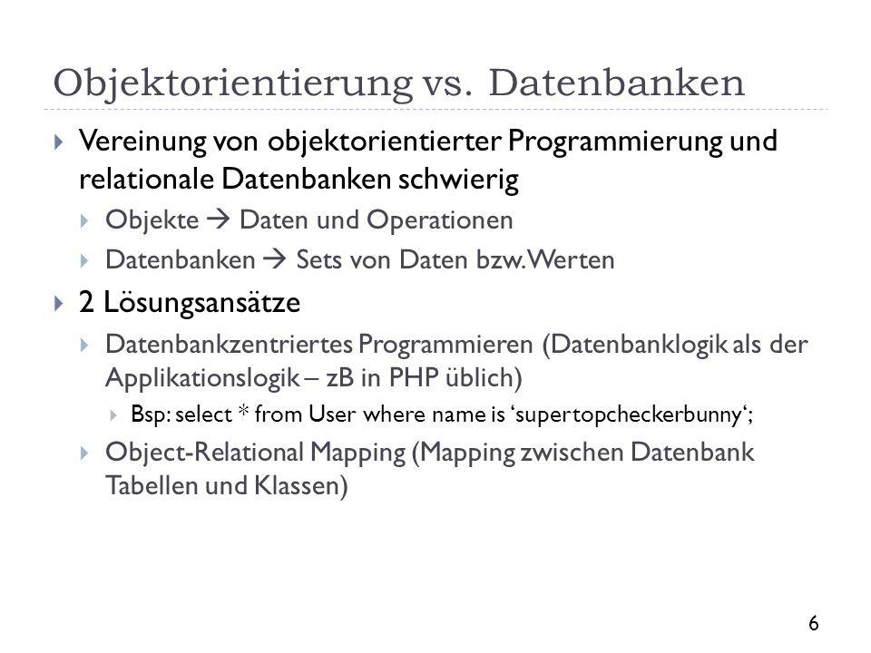 Objektorientierung vs. Datenbanken