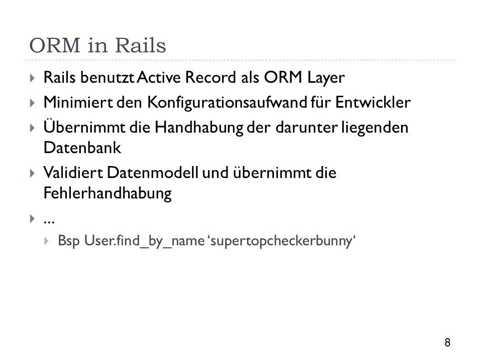 ORM in Rails Rails benutzt Active Record als ORM Layer