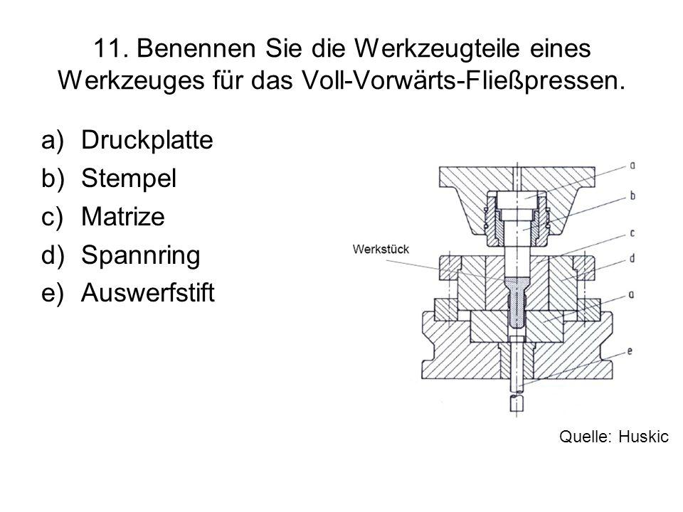 11. Benennen Sie die Werkzeugteile eines Werkzeuges für das Voll-Vorwärts-Fließpressen.