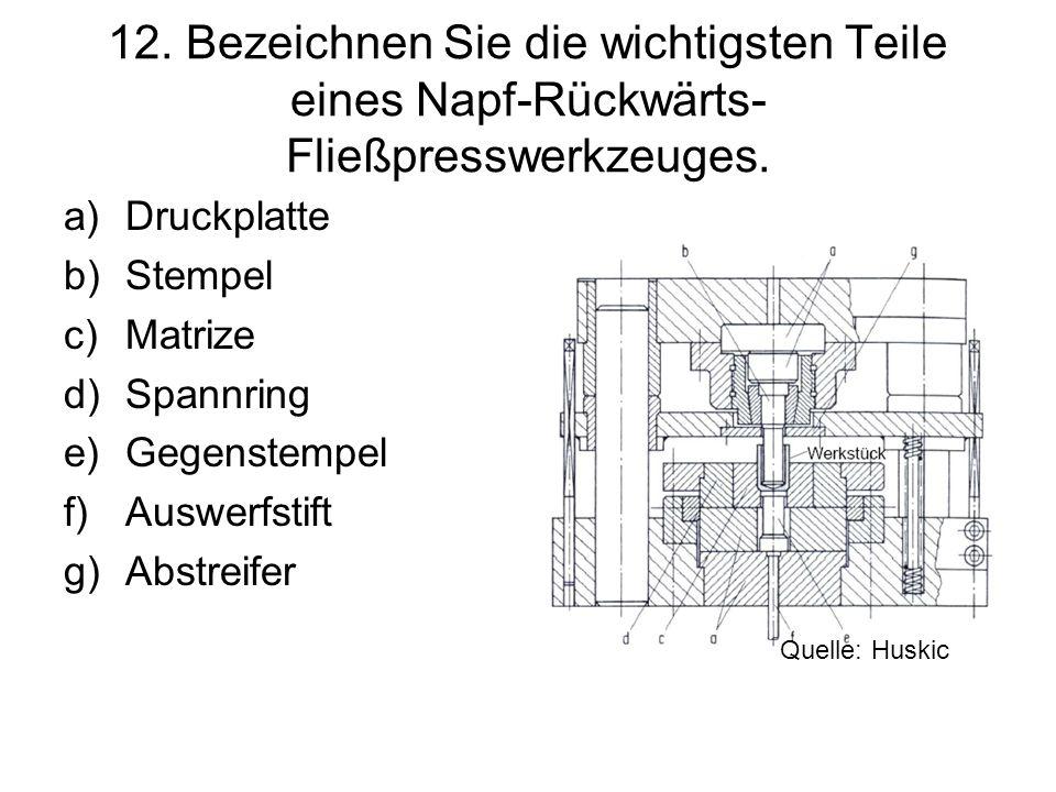 12. Bezeichnen Sie die wichtigsten Teile eines Napf-Rückwärts-Fließpresswerkzeuges.