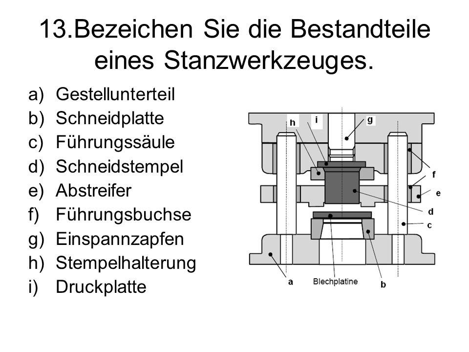 13.Bezeichen Sie die Bestandteile eines Stanzwerkzeuges.