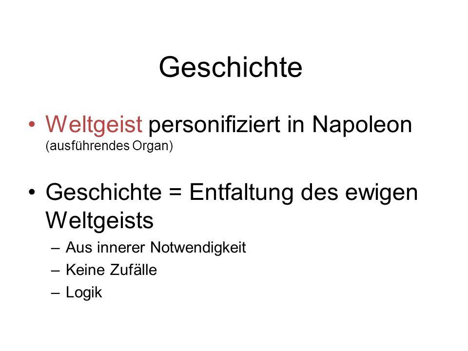 Geschichte Weltgeist personifiziert in Napoleon (ausführendes Organ)