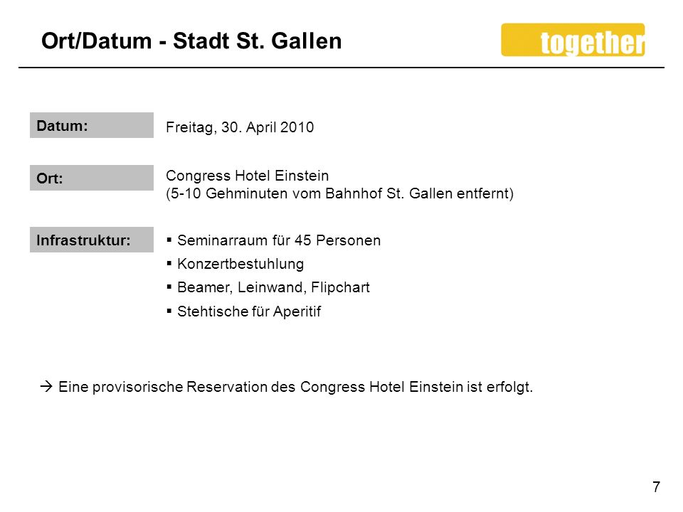 Ort/Datum - Stadt St. Gallen