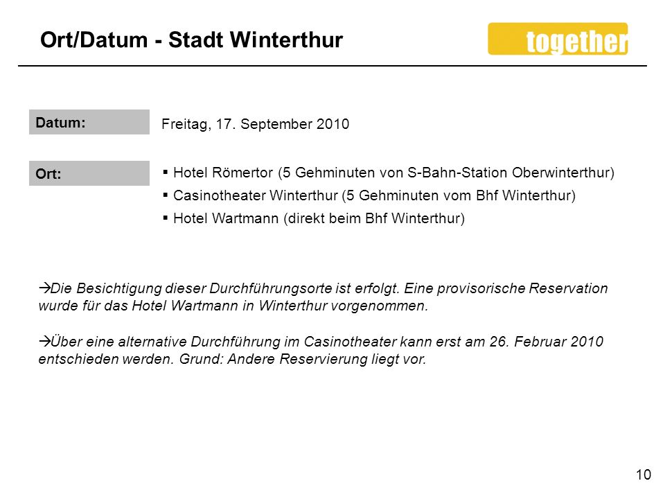 Ort/Datum - Stadt Winterthur