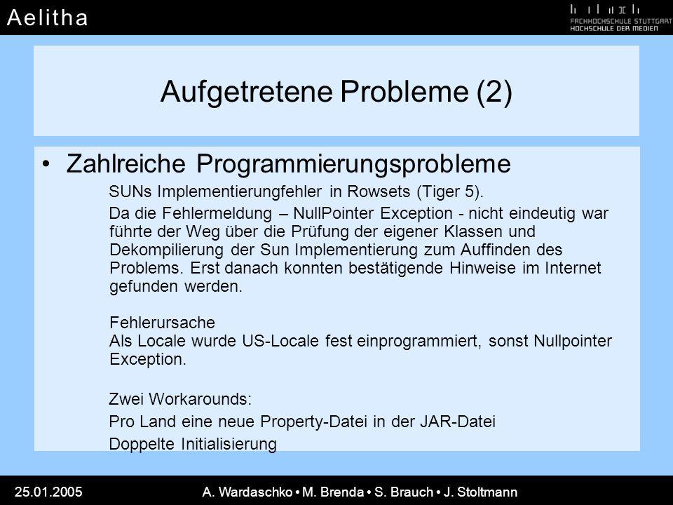 Aufgetretene Probleme (2)