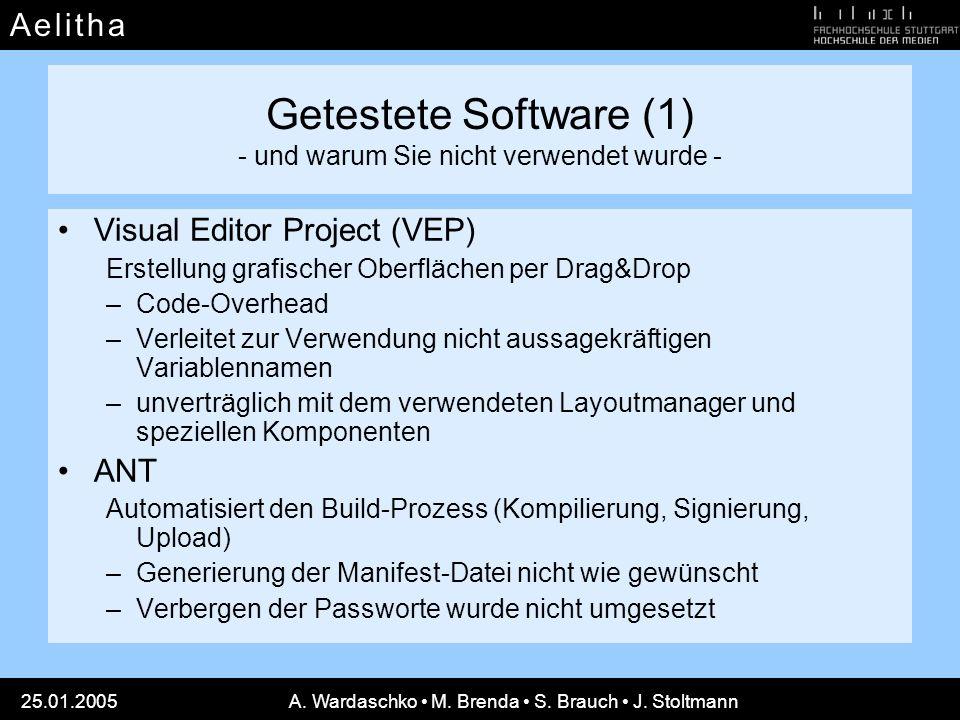 Getestete Software (1) - und warum Sie nicht verwendet wurde -
