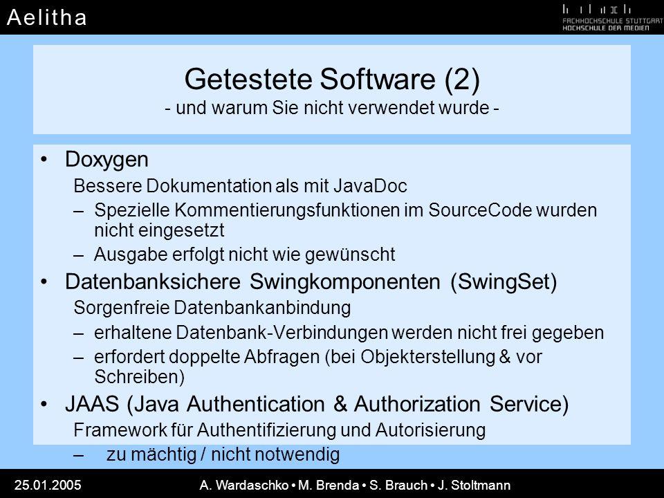 Getestete Software (2) - und warum Sie nicht verwendet wurde -