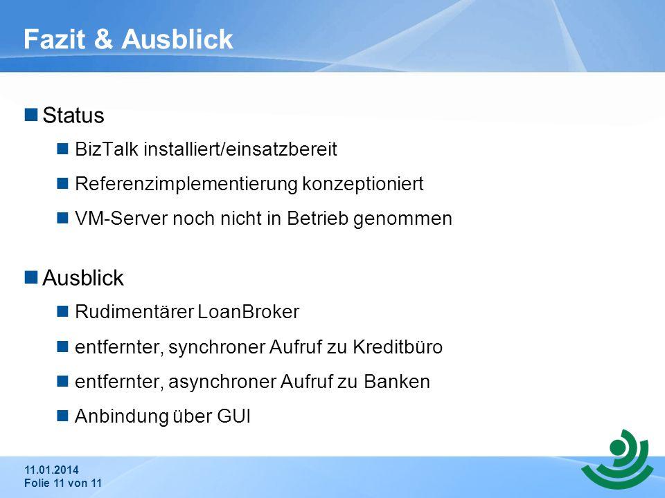 Fazit & Ausblick Status Ausblick BizTalk installiert/einsatzbereit