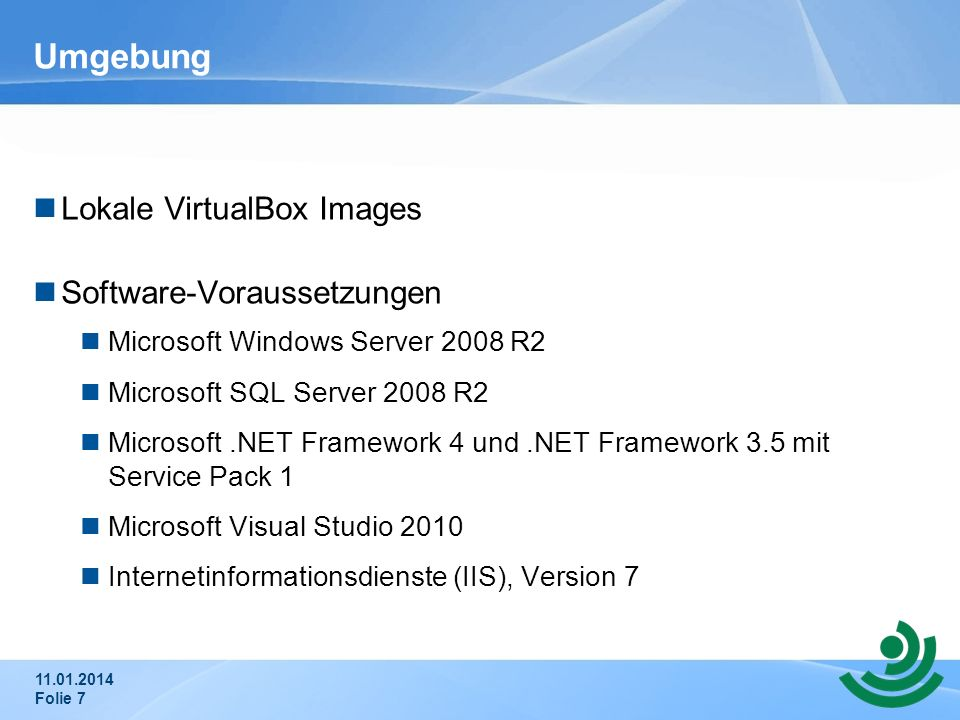 Umgebung Lokale VirtualBox Images Software-Voraussetzungen