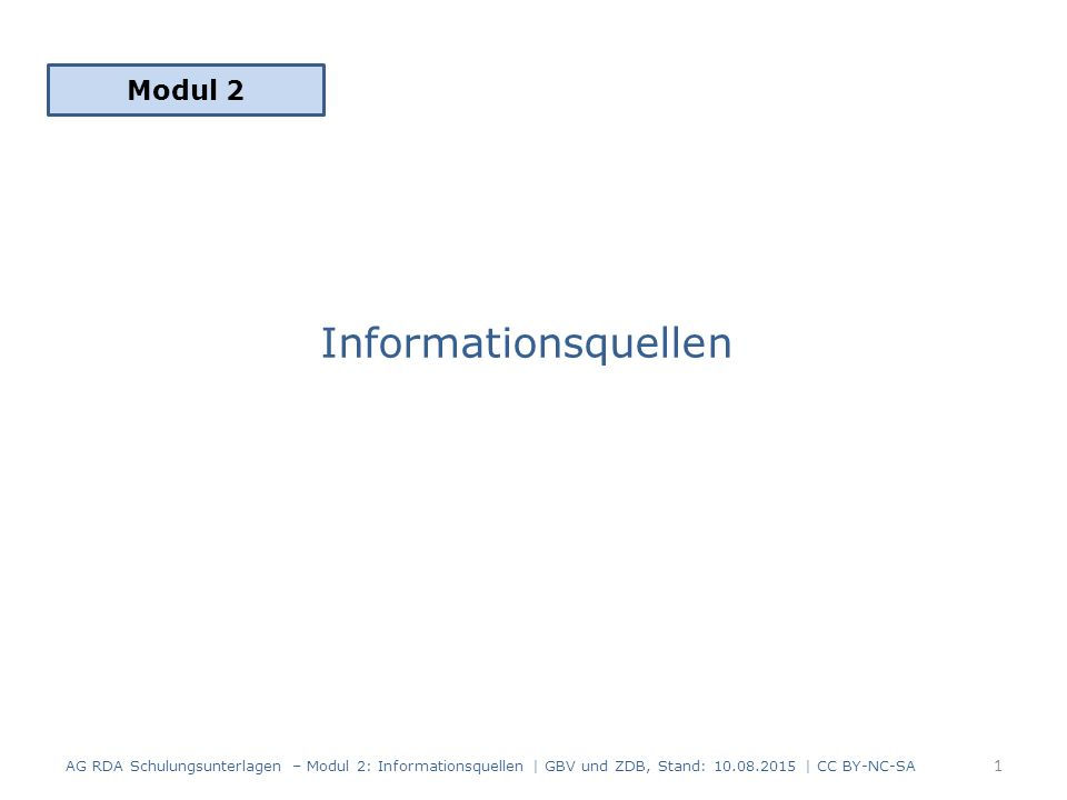 Informationsquellen Modul 2