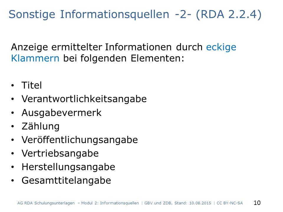 Sonstige Informationsquellen -2- (RDA 2.2.4)