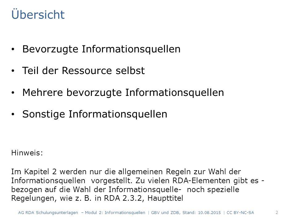 Übersicht Bevorzugte Informationsquellen Teil der Ressource selbst