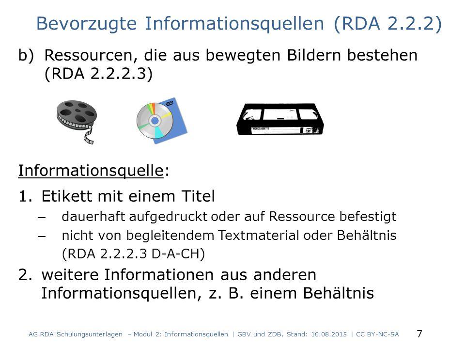 Bevorzugte Informationsquellen (RDA 2.2.2)