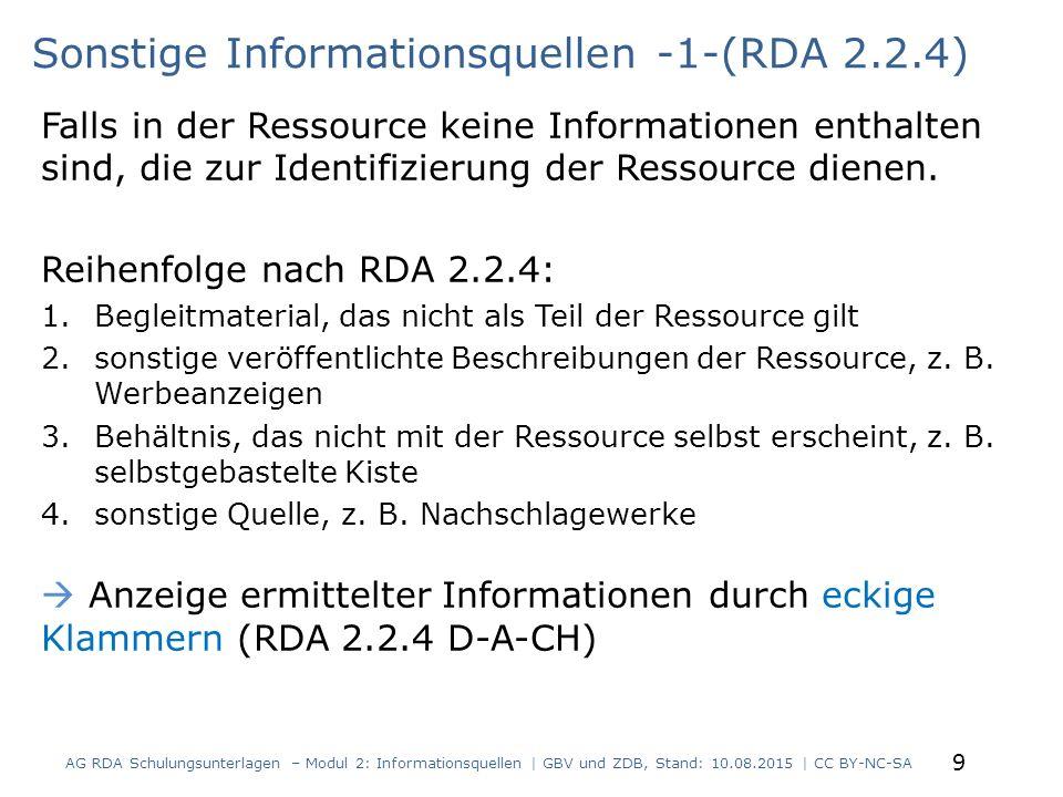 Sonstige Informationsquellen -1-(RDA 2.2.4)