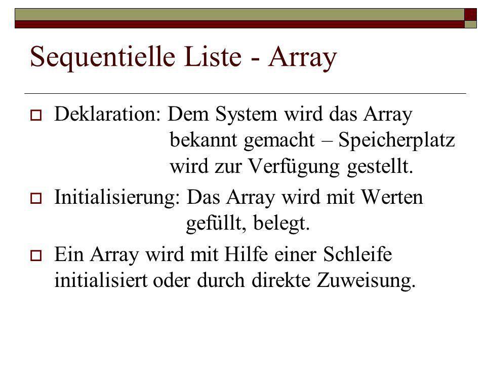 Sequentielle Liste - Array