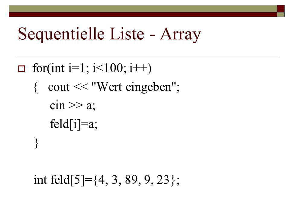 Sequentielle Liste - Array