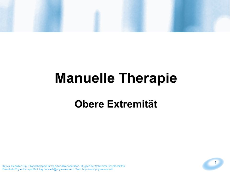 Manuelle Therapie Obere Extremität