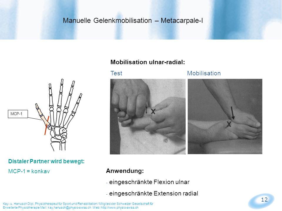 Manuelle Gelenkmobilisation – Metacarpale-I