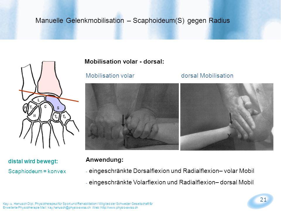 Manuelle Gelenkmobilisation – Scaphoideum(S) gegen Radius