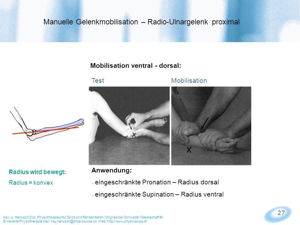 Manuelle Gelenkmobilisation – Radio-Ulnargelenk proximal