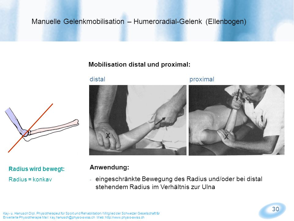 Manuelle Gelenkmobilisation – Humeroradial-Gelenk (Ellenbogen)