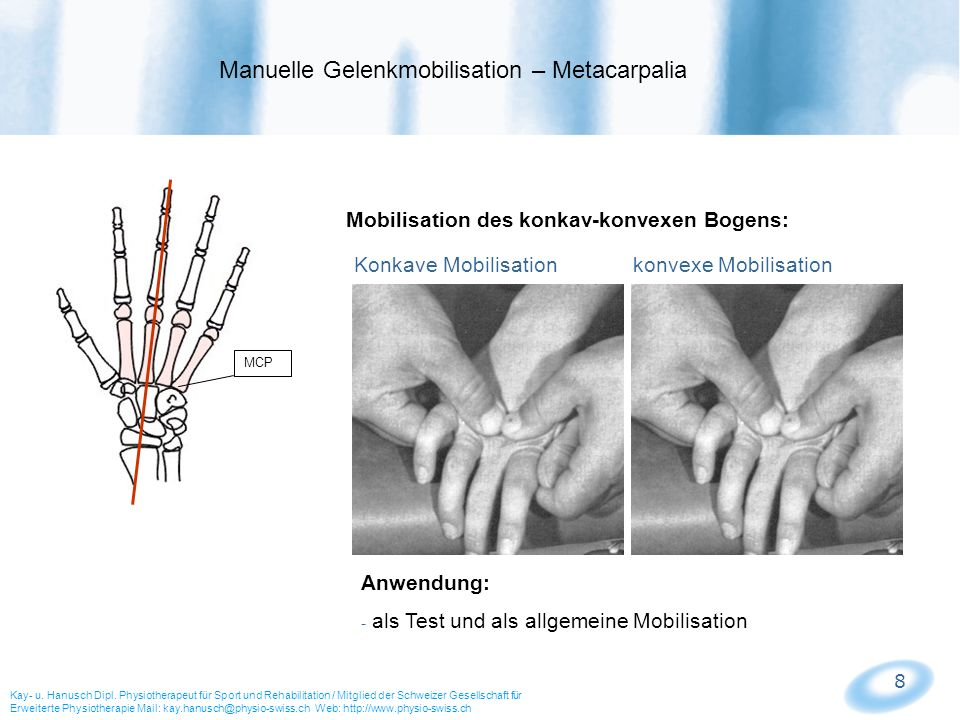 Manuelle Gelenkmobilisation – Metacarpalia