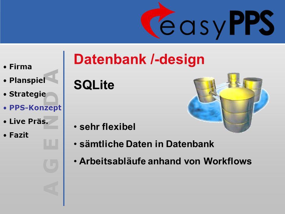 Datenbank /-design SQLite sehr flexibel sämtliche Daten in Datenbank