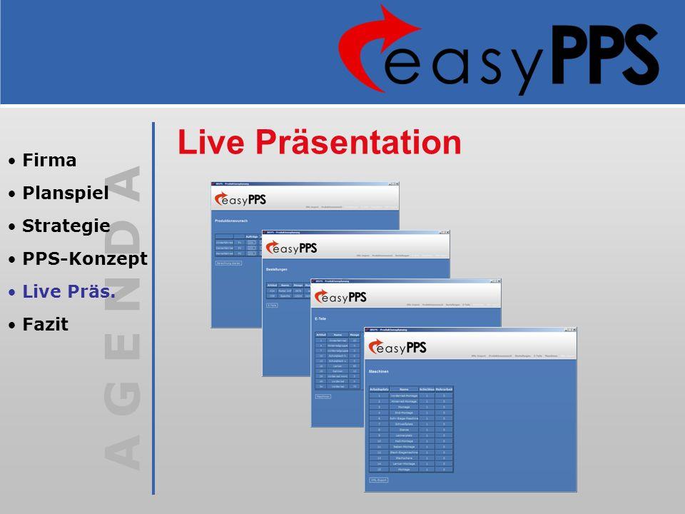 Live Präsentation Firma Planspiel Strategie PPS-Konzept Live Präs.
