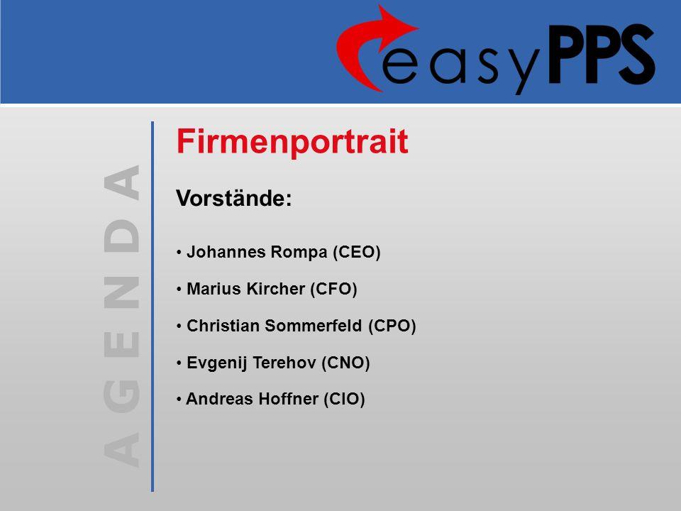 Firmenportrait Vorstände: Johannes Rompa (CEO) Marius Kircher (CFO)