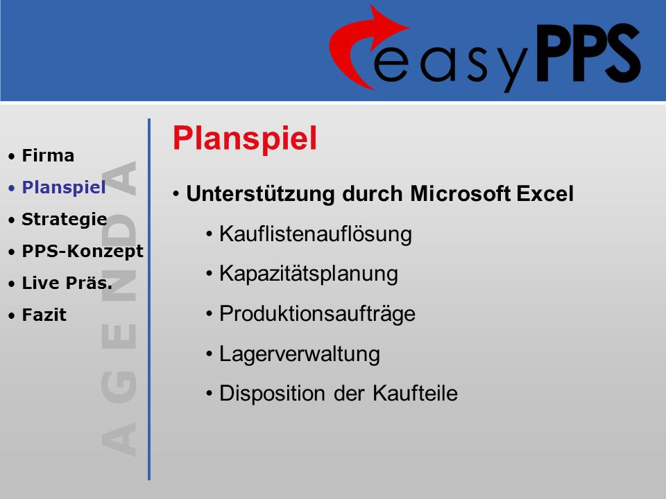 Planspiel Unterstützung durch Microsoft Excel Kauflistenauflösung