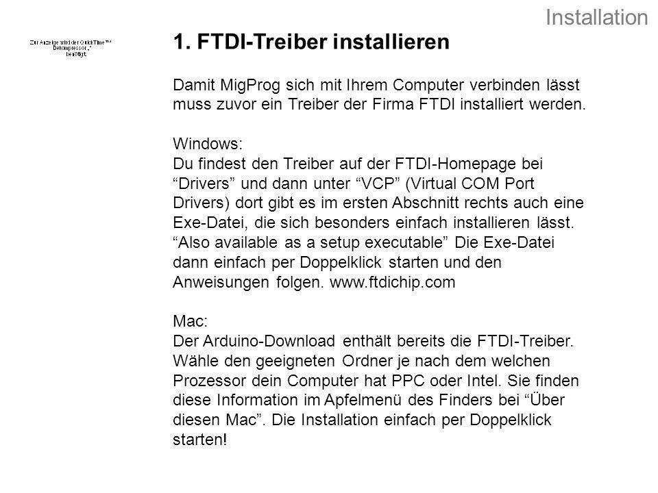 1. FTDI-Treiber installieren