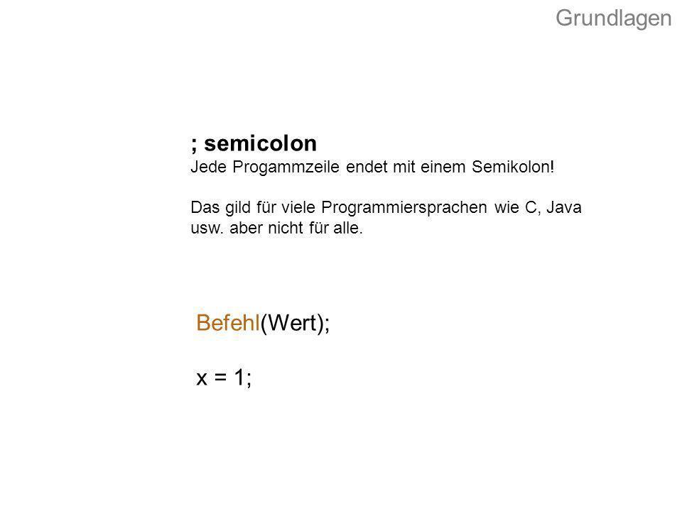 Grundlagen ; semicolon Befehl(Wert); x = 1;