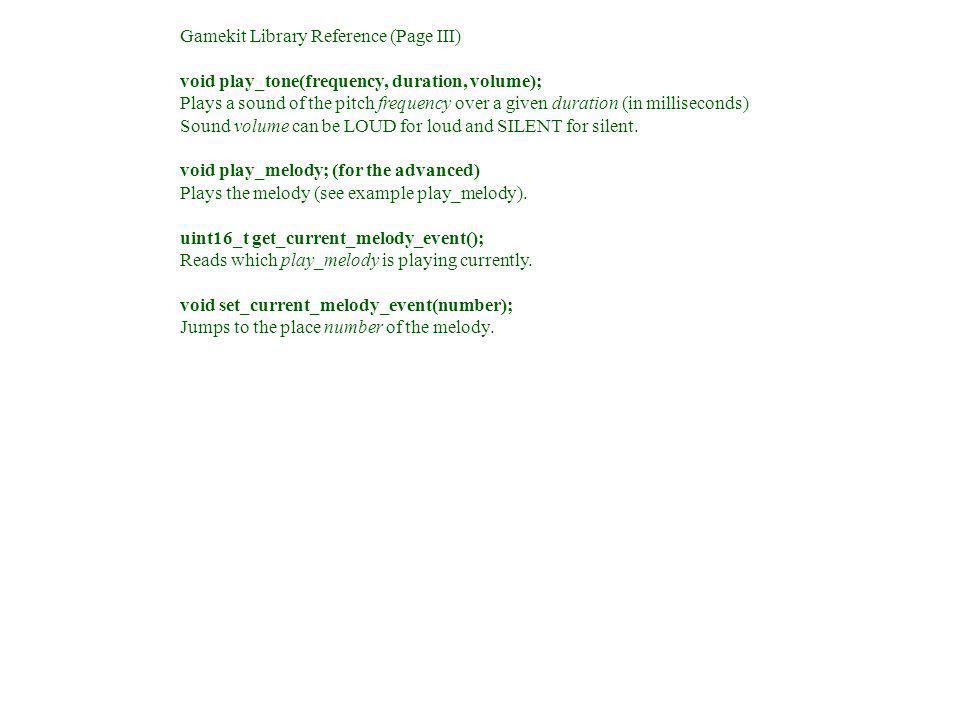 Gamekit Library Reference (Page III)