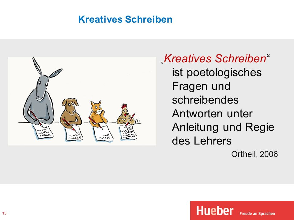"""Kreatives Schreiben """"Kreatives Schreiben ist poetologisches Fragen und schreibendes Antworten unter Anleitung und Regie des Lehrers Ortheil, 2006"""