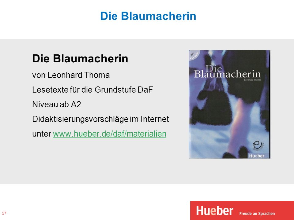 Die Blaumacherin Die Blaumacherin von Leonhard Thoma