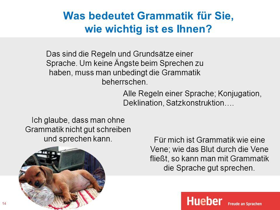 Was bedeutet Grammatik für Sie, wie wichtig ist es Ihnen